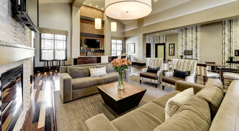lounge with large areas of seating and easy access throughout room